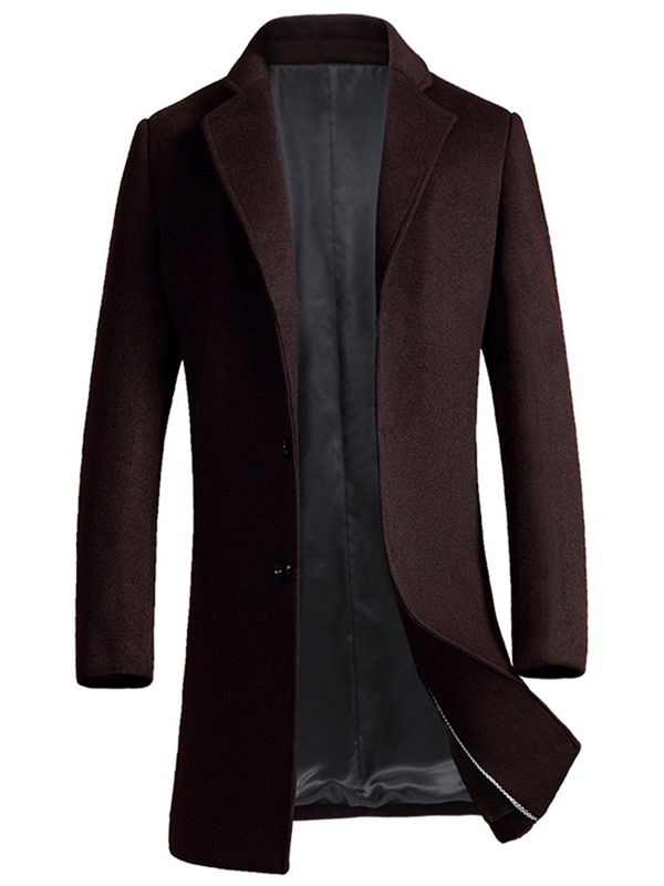 Tidebuy Plain Lapel Mid-Length Button Men's Coat