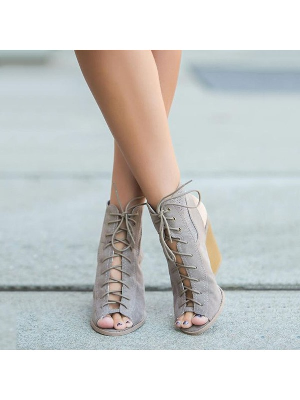 Suede Lace-Up Pee-Toe Wedge Heel Sandals