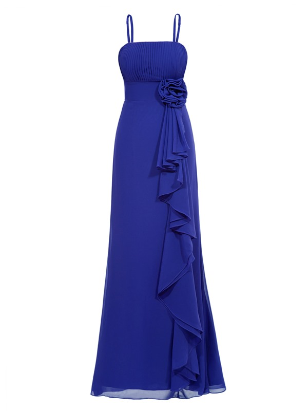 Strapless Pleats Flower Ruffles Sheath Evening Dress