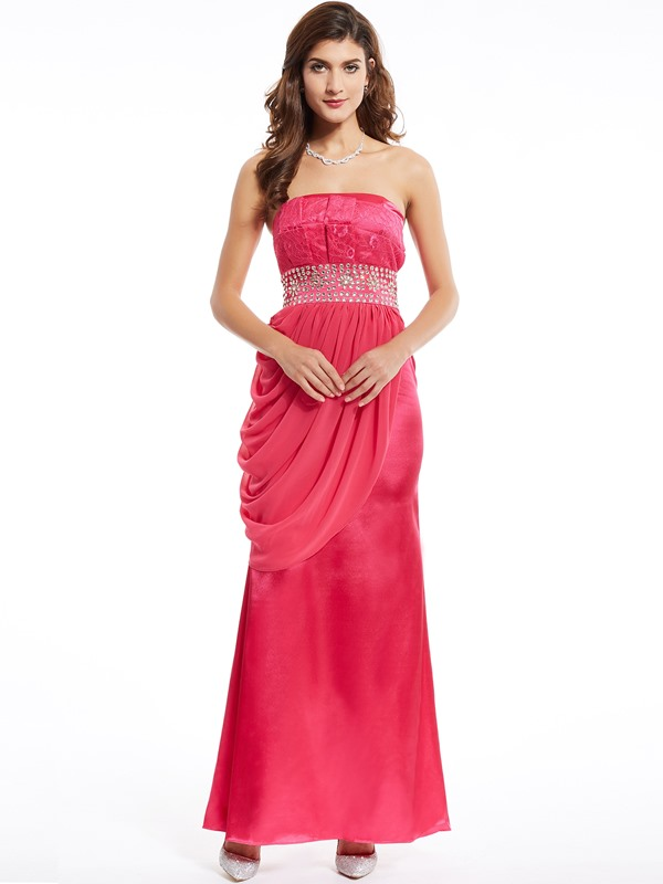 Strapless Lace Beading Draped Column Evening Dress
