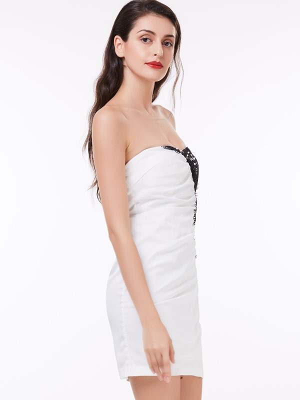 Sweetheart Lace Pearls Sheath Cocktail Dress