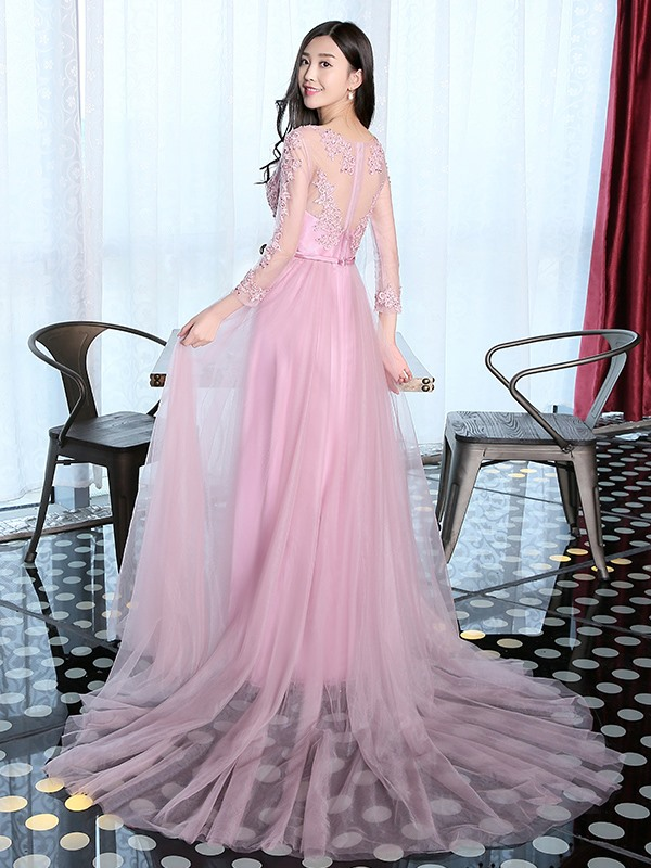 Beautiful A-Line V-Neck Appliques Beaded Bowkont Sashes Evening Dress