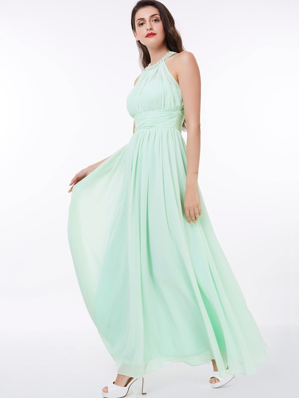 Halter A-Line Pearls Pleats Long Prom Dress