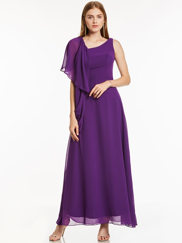 Straps Short Sleeve Draped Long Evening Dress