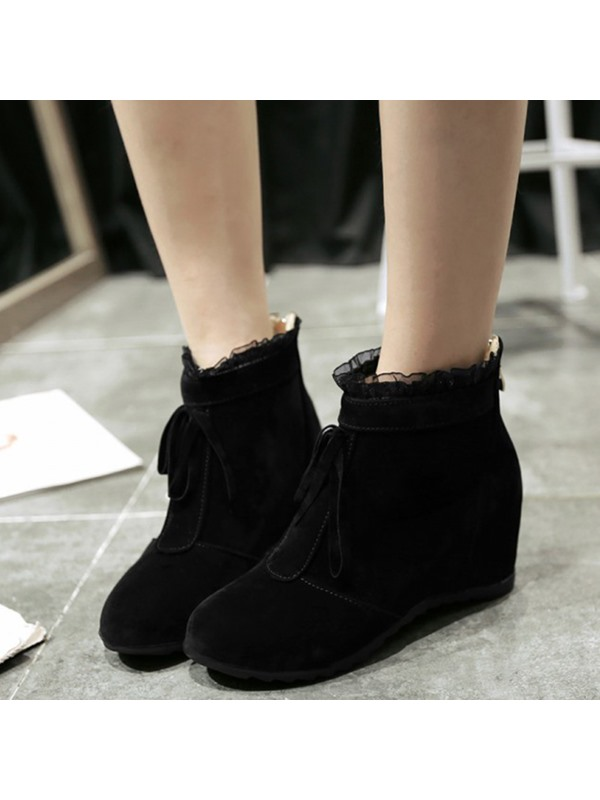 PU Lace Back Zip Lace Wedge Heel Ankle Boots