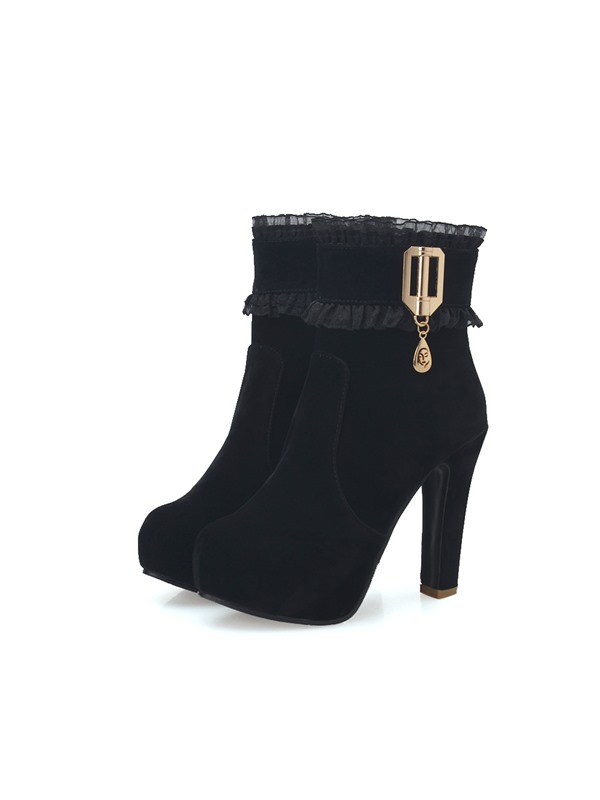 PU Lace-Up Front Platform Stiletto Heel Ankle Boots