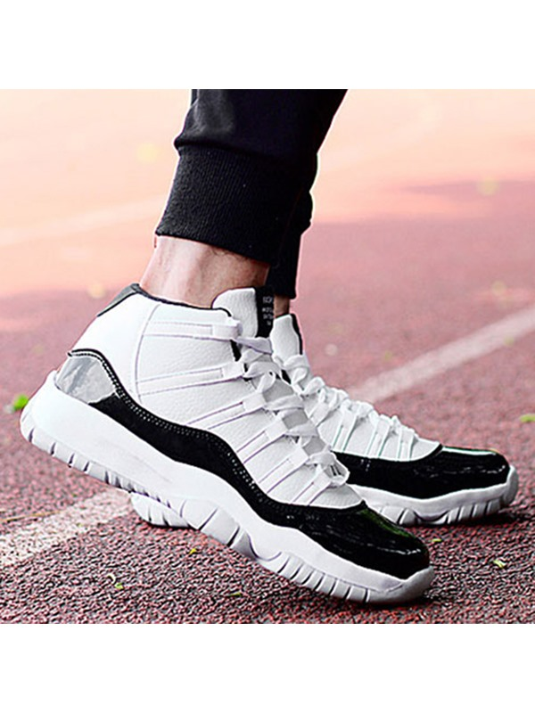 PU Color Block Lace-Up Sports Shoes