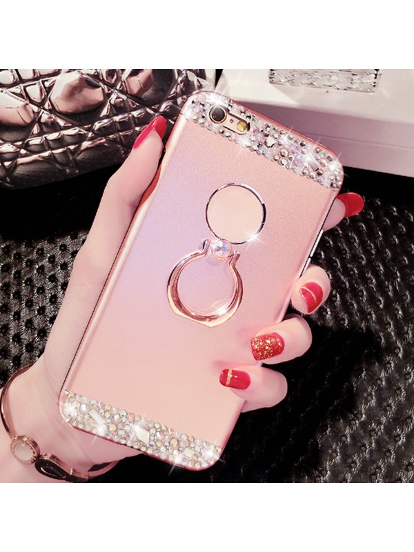 For  6/6S Plus Case Plastic Cover Metal Ring Stents Crash Proof Phone Case