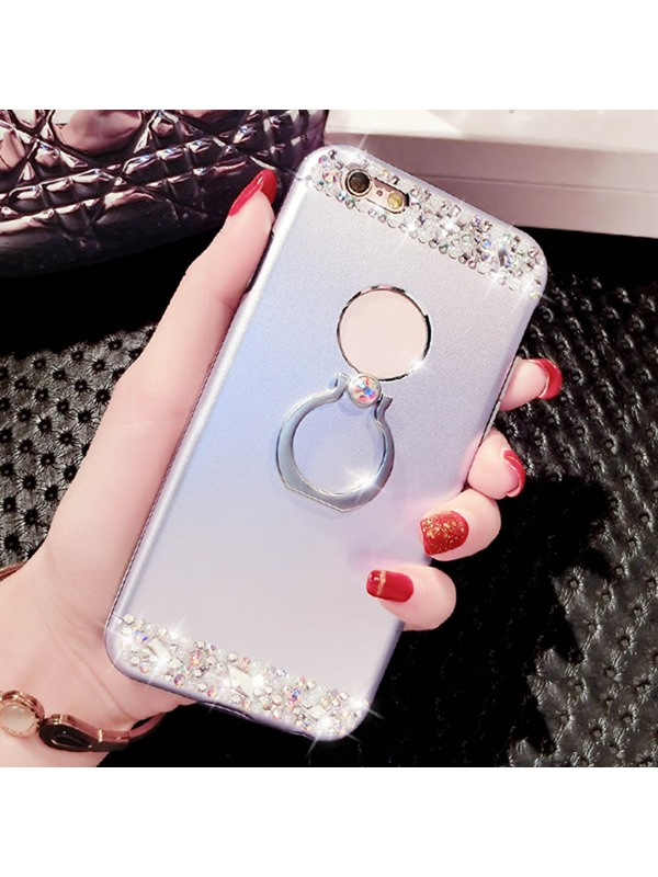 For iPhone 6/6S Plus Case Plastic Cover Metal Ring Stents Crash Proof Phone Case