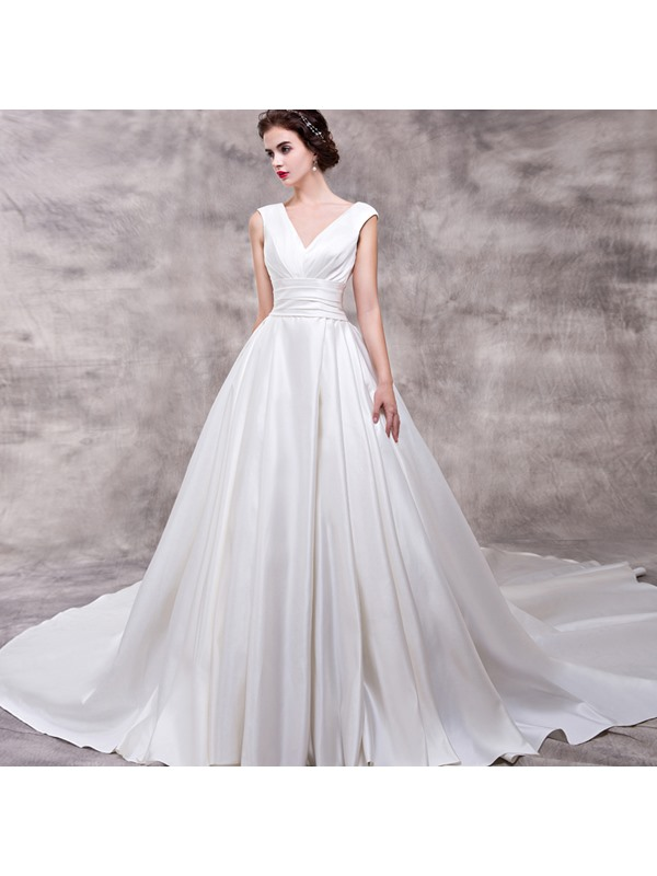 V Neck Zipper-Up A Line Court Train Wedding Dress