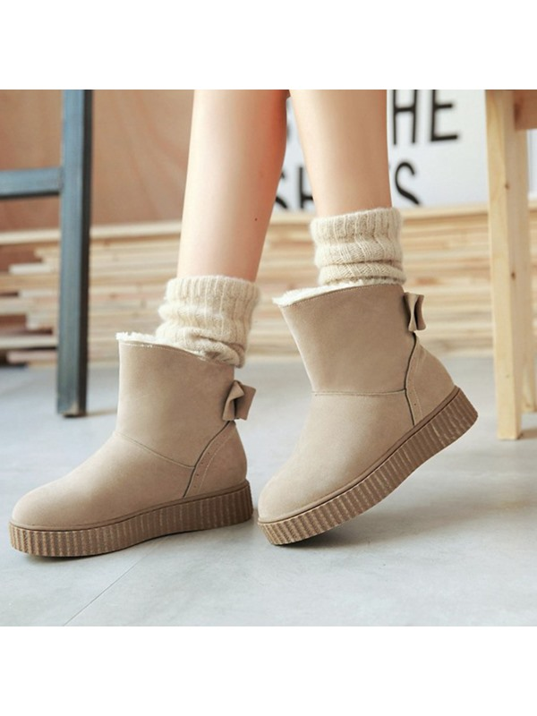 PU Slip-On Round Toe Flat Snow Boots
