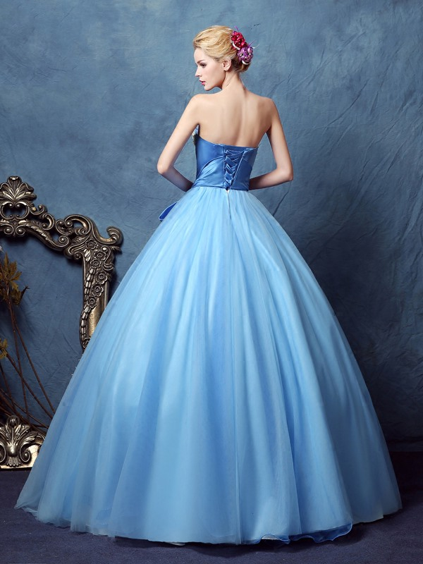 Wonderful Strapless Ball Gown Bowknot Button Pearls Floor-Length Quinceanera Dress