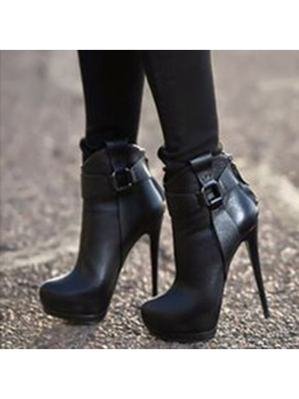 PU Back Zip Stiletto Ankle Women's Black Boots