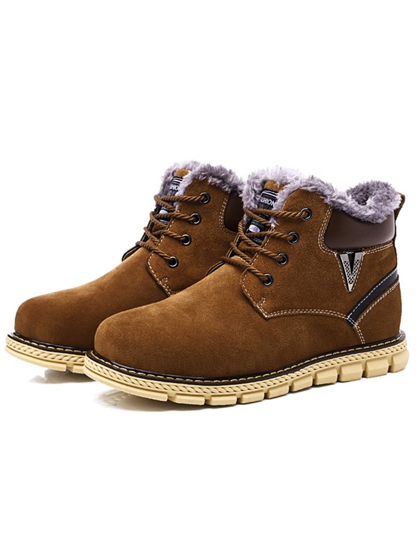 Nubuck Leather Plain Lace-Up Boots