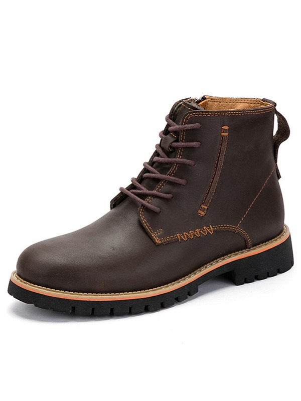 PU Plain Round Toe Fashion Boots for Men