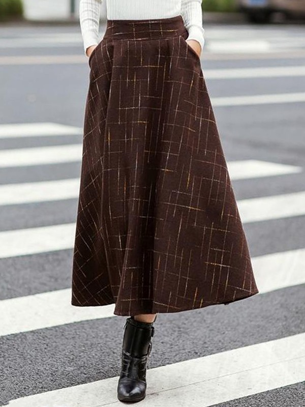 High Waist Retro Long Winter Skirt