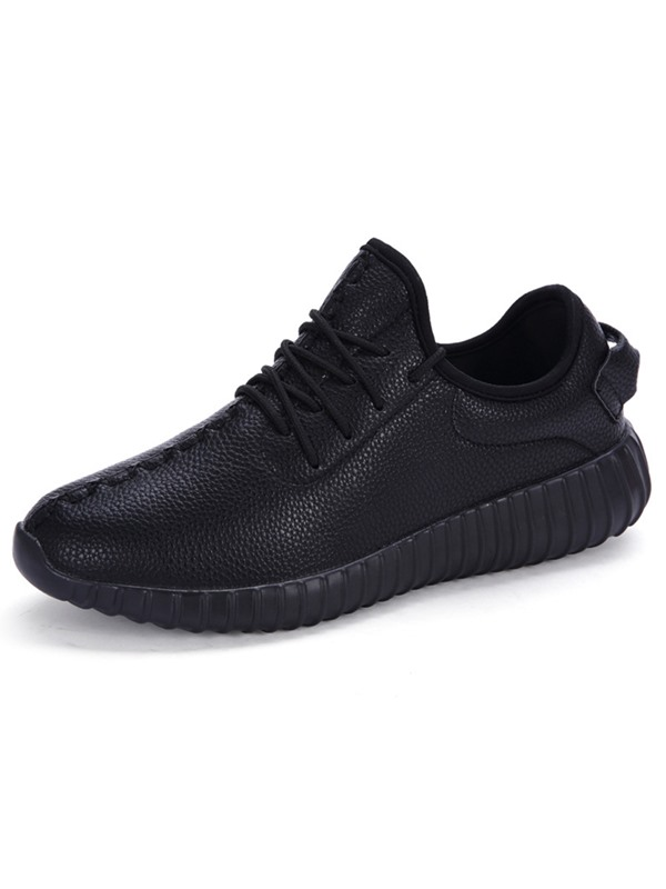 PU Plain Lace-Up Round Toe Men's Fashion Shoes