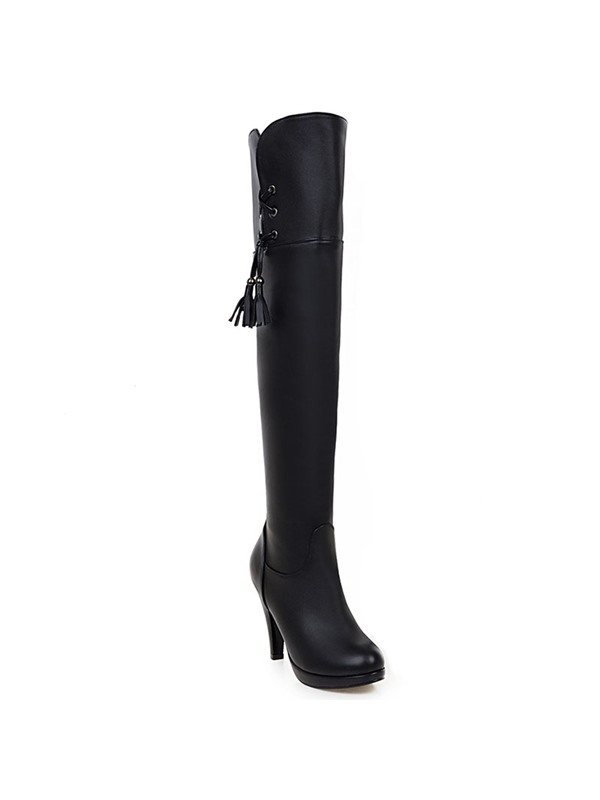PU Slip-On Thread Stiletto Heel Thigh High Boots