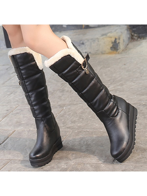 PU Slip-On Flat Women's Knee High Boots