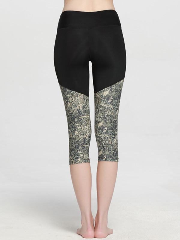 Quick Drying Ventilate Flower Printed Elastic Fifth Yoga Pant