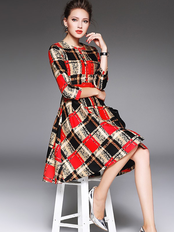 Plaid Single-Breasted Belt Skater Dress