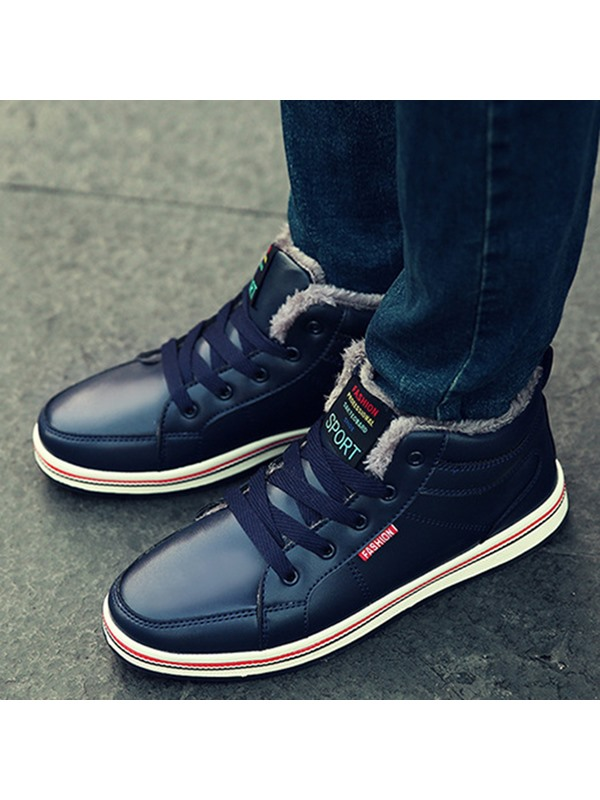 PU Plain Lace-Up Men's Winter Boots