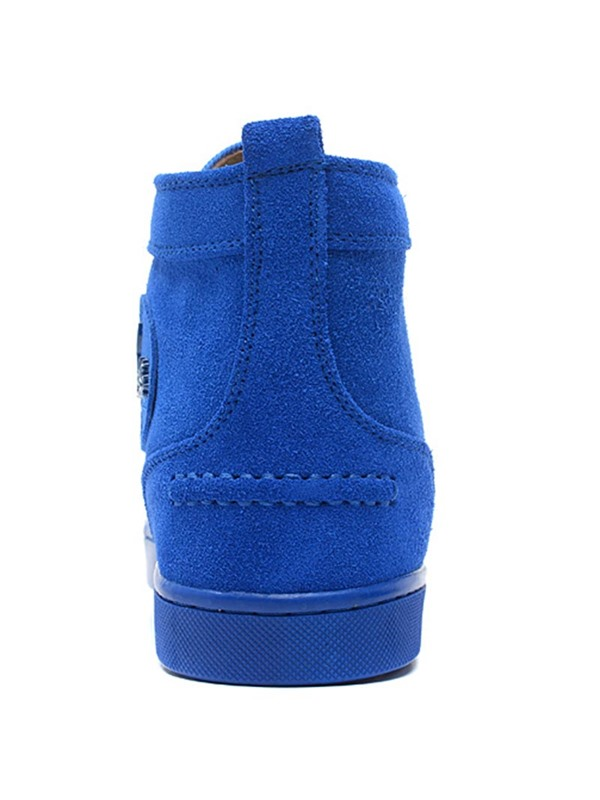 PU Blue Plain Round Toe Fashion Boots for Men