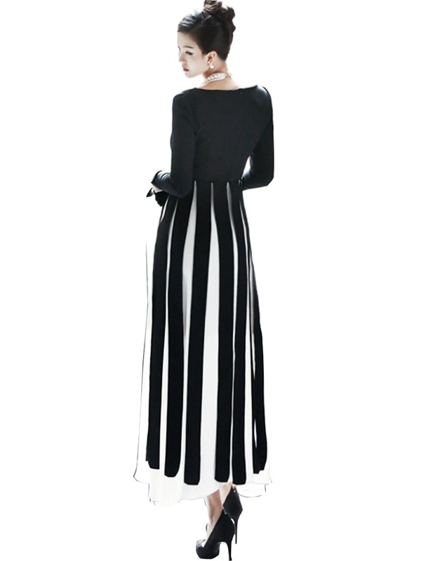 Vertical Striped Patchwork Expansion Women's Maxi Dress