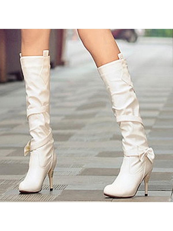 PU Slip-On Ruched Bowtie Knee High Boots for Women