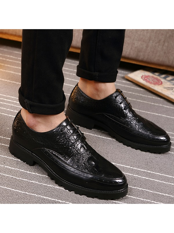 Embossed Leather Lace-Up Chunky Men's Dress Shoes
