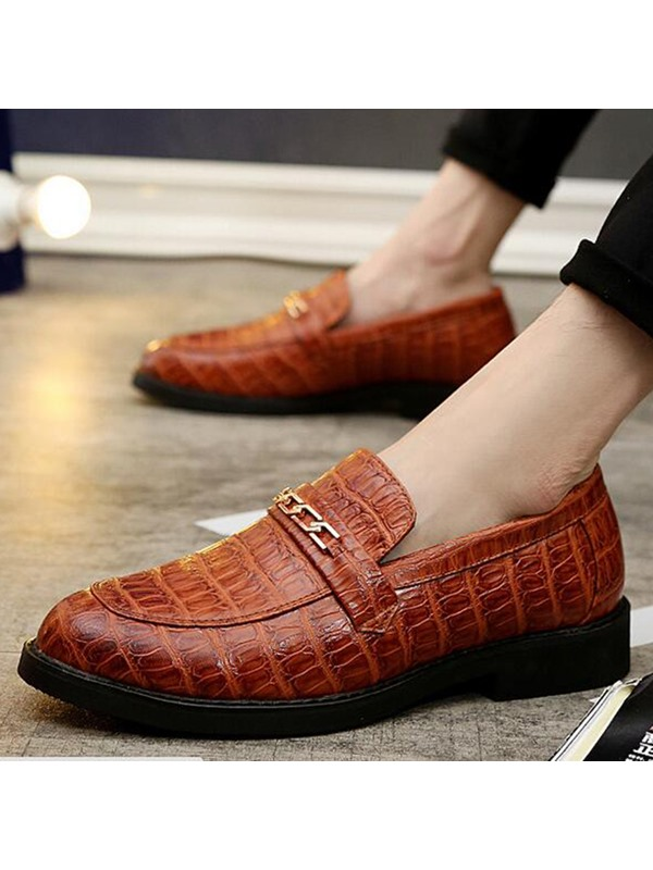 Embossed Leather Slip-On Round Toe Men's Dress Shoes