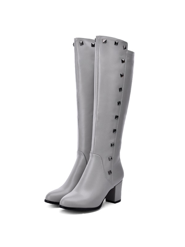 PU Side Zipper Rivet Block Heel Knee High Boots