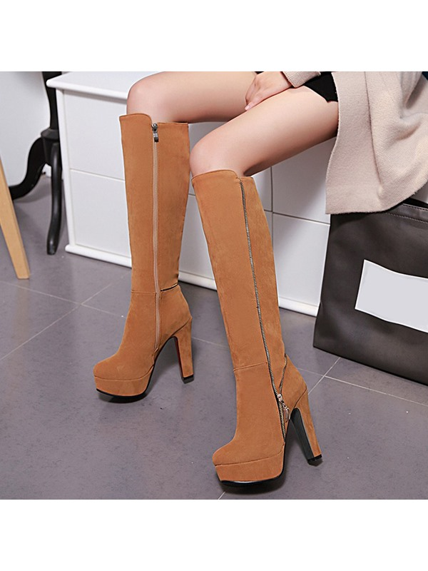 PU Side Zipper Knee High Women's Boots