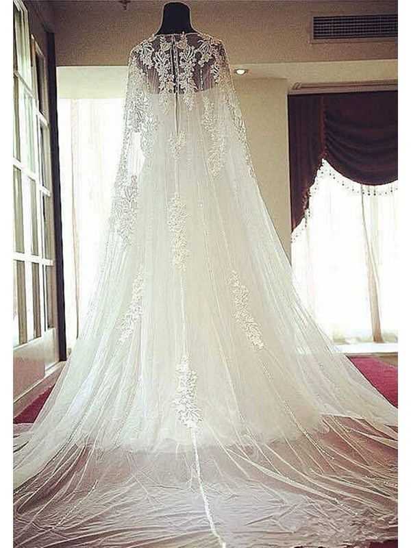 Scoop Neck Lace Beading Court Train A-Line Wedding Dress
