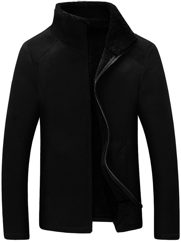 Zipper Stand Collar Men's Fleece Coat