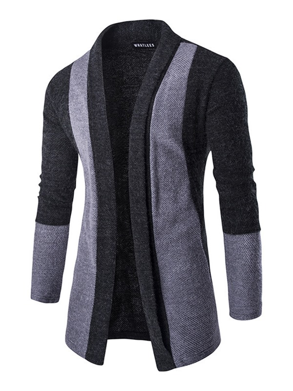 Patchwork Long-Pattern Men's Cardigan Sweater