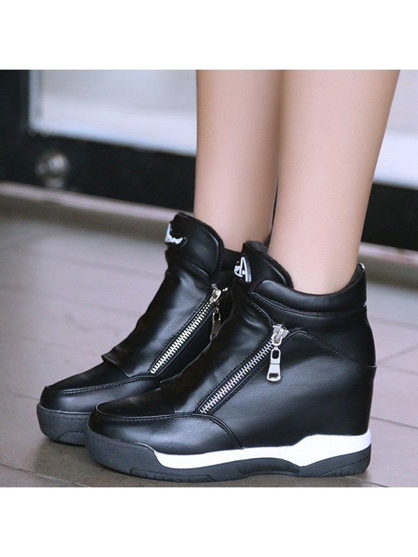 PU Side Zipper Hidden Elevator Heel Shoes for Women