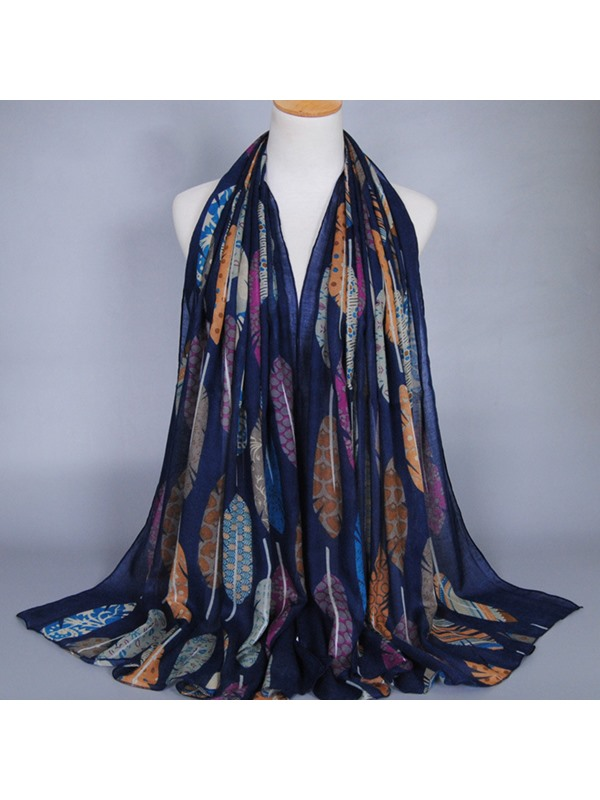 Colorful Feather Printed Cotton Scarf for Women