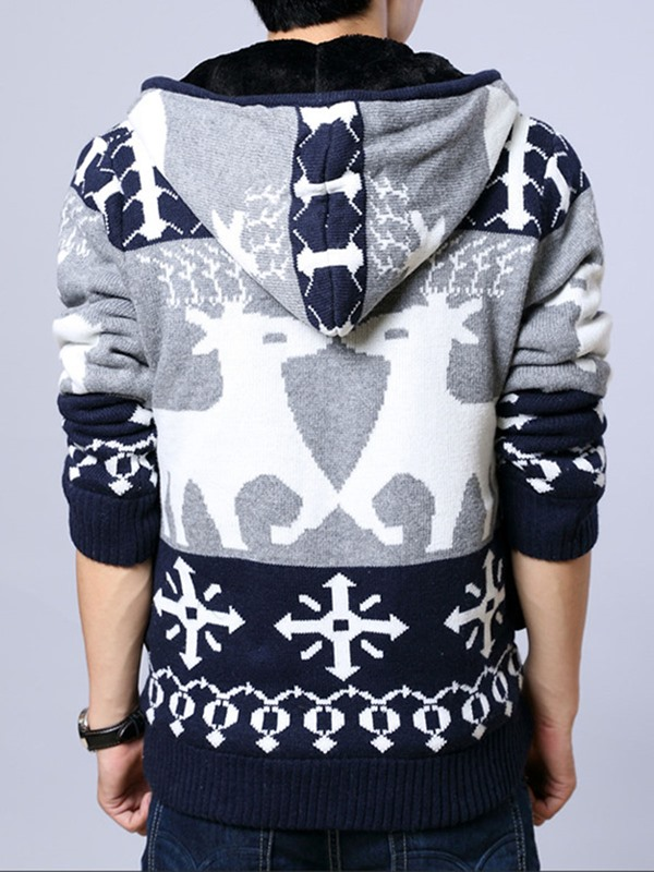 Hooded Floral Printed Fleece Men's Cardigan Sweater