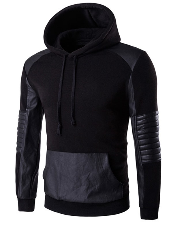 Cotton Blends PU Patch Men's Causal Hoodie
