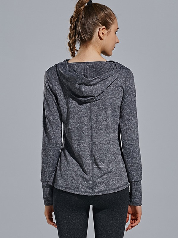 Stylish Heap Collar Quick-Dry Women's Sports Hoodie