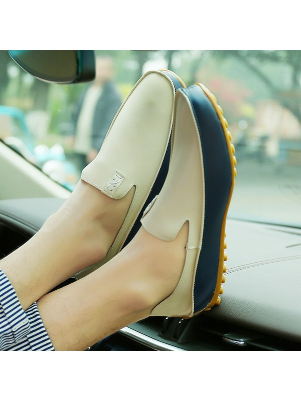 PU Slip-On Round Toe Rubber Men's Casual Shoes