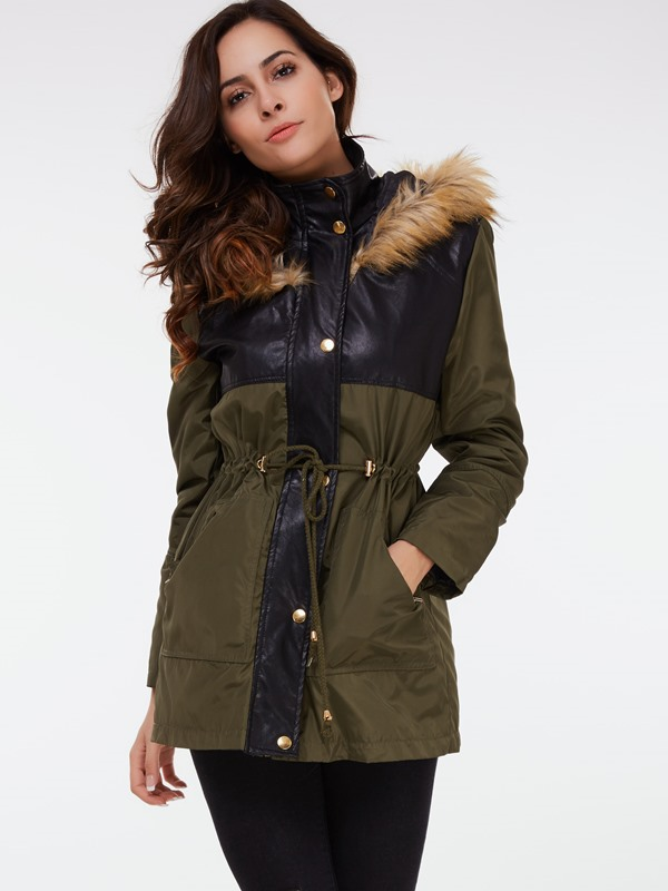 Hooded Patchwork Women's Overcoat