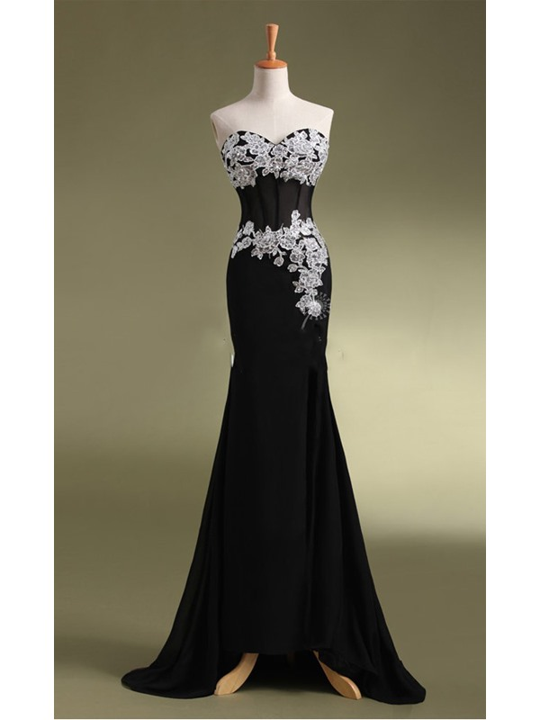 Sheath Sweetheart Appliques Beading Sequins Evening Dress