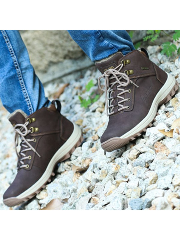 PU Plain Round Toe Warm Men's Hiking Boots