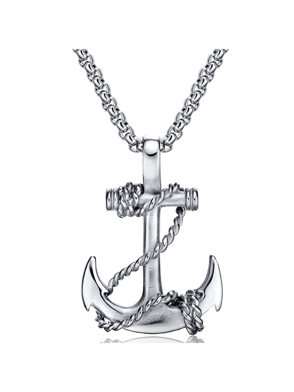 Anchor Pendant Titanium Steel Men's Necklace