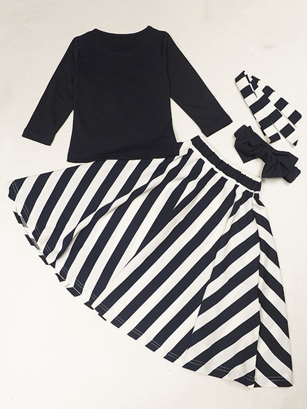 Vogue Stripe Designed Girl's T-Shirt & Skirt Outfit