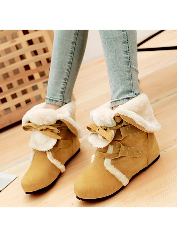 PU Lace-Up Purfle Flat Women's Boots