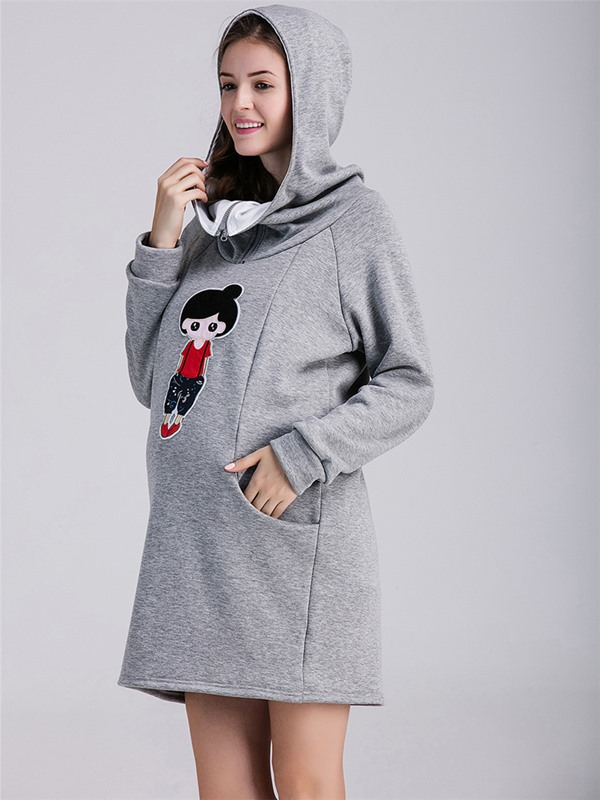 Loose-Fit Gray Cartoon-Print Maternity Hoodie