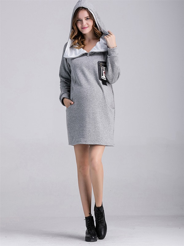 Solid Color Printing Pocket Maternity Hoodie